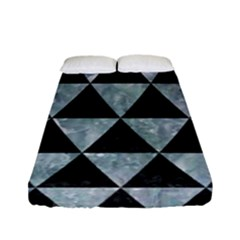 Triangle3 Black Marble & Ice Crystals Fitted Sheet (full/ Double Size) by trendistuff