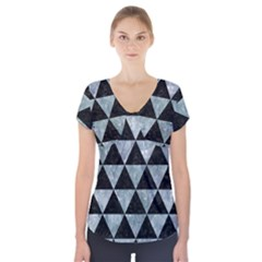 Triangle3 Black Marble & Ice Crystals Short Sleeve Front Detail Top by trendistuff
