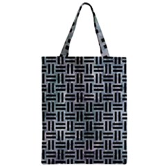 Woven1 Black Marble & Ice Crystals Zipper Classic Tote Bag by trendistuff