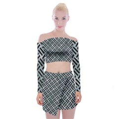 Woven2 Black Marble & Ice Crystals Off Shoulder Top With Mini Skirt Set