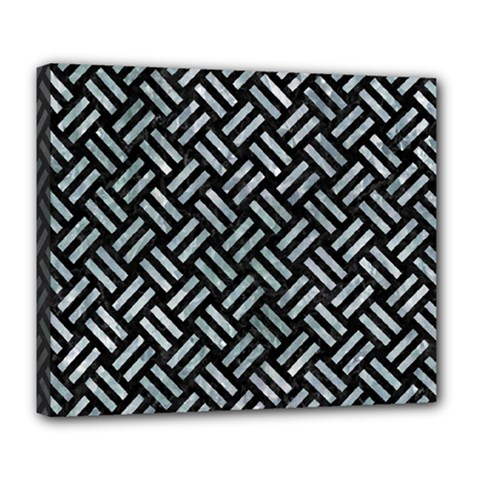 Woven2 Black Marble & Ice Crystals (r) Deluxe Canvas 24  X 20   by trendistuff