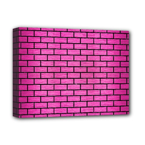 Brick1 Black Marble & Pink Brushed Metal Deluxe Canvas 16  X 12   by trendistuff