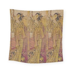 Japanese Geisha With Cat Illustration Square Tapestry (small) by paulaoliveiradesign