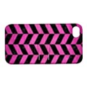 CHEVRON1 BLACK MARBLE & PINK BRUSHED METAL Apple iPhone 4/4S Hardshell Case with Stand View1