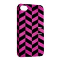 CHEVRON1 BLACK MARBLE & PINK BRUSHED METAL Apple iPhone 4/4S Hardshell Case with Stand View2