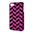 CHEVRON1 BLACK MARBLE & PINK BRUSHED METAL Apple iPhone 4/4S Hardshell Case with Stand View3