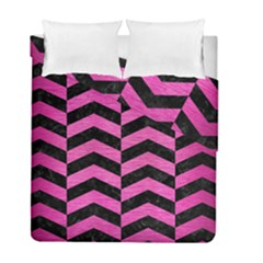 Chevron2 Black Marble & Pink Brushed Metal Duvet Cover Double Side (full/ Double Size) by trendistuff