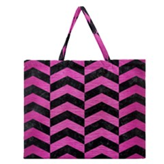 Chevron2 Black Marble & Pink Brushed Metal Zipper Large Tote Bag by trendistuff