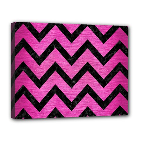 Chevron9 Black Marble & Pink Brushed Metal Canvas 14  X 11