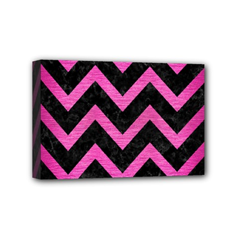 Chevron9 Black Marble & Pink Brushed Metal (r) Mini Canvas 6  X 4  by trendistuff