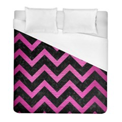 Chevron9 Black Marble & Pink Brushed Metal (r) Duvet Cover (full/ Double Size) by trendistuff