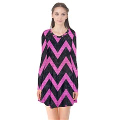 Chevron9 Black Marble & Pink Brushed Metal (r) Flare Dress by trendistuff