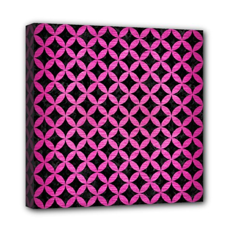 Circles3 Black Marble & Pink Brushed Metal (r) Mini Canvas 8  X 8  by trendistuff
