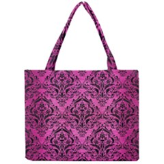 Damask1 Black Marble & Pink Brushed Metal Mini Tote Bag by trendistuff