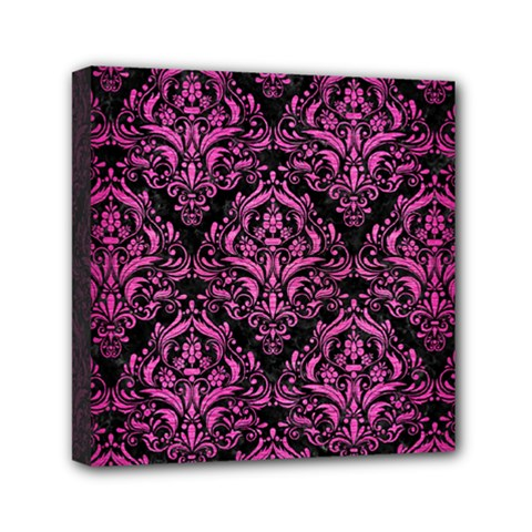 Damask1 Black Marble & Pink Brushed Metal (r) Mini Canvas 6  X 6  by trendistuff