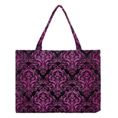 Damask1 Black Marble & Pink Brushed Metal (r) Medium Tote Bag by trendistuff