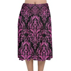 Damask1 Black Marble & Pink Brushed Metal (r) Velvet Flared Midi Skirt by trendistuff
