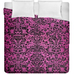 Damask2 Black Marble & Pink Brushed Metal Duvet Cover Double Side (king Size) by trendistuff
