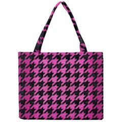 Houndstooth1 Black Marble & Pink Brushed Metal Mini Tote Bag by trendistuff