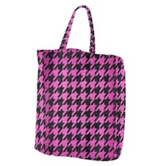 Houndstooth1 Black Marble & Pink Brushed Metal Giant Grocery Zipper Tote by trendistuff