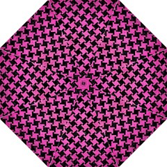 Houndstooth2 Black Marble & Pink Brushed Metal Hook Handle Umbrellas (large) by trendistuff