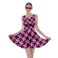 Houndstooth2 Black Marble & Pink Brushed Metal Skater Dress by trendistuff