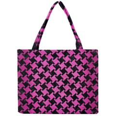 Houndstooth2 Black Marble & Pink Brushed Metal Mini Tote Bag by trendistuff