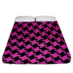 Houndstooth2 Black Marble & Pink Brushed Metal Fitted Sheet (california King Size) by trendistuff