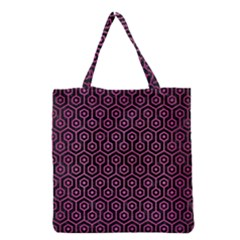 Hexagon1 Black Marble & Pink Brushed Metal (r) Grocery Tote Bag by trendistuff