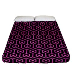 Hexagon1 Black Marble & Pink Brushed Metal (r) Fitted Sheet (queen Size) by trendistuff