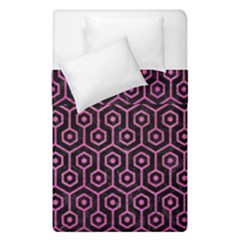 Hexagon1 Black Marble & Pink Brushed Metal (r) Duvet Cover Double Side (single Size) by trendistuff