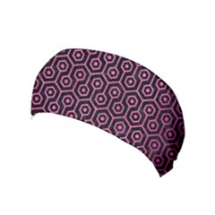 Hexagon1 Black Marble & Pink Brushed Metal (r) Yoga Headband by trendistuff