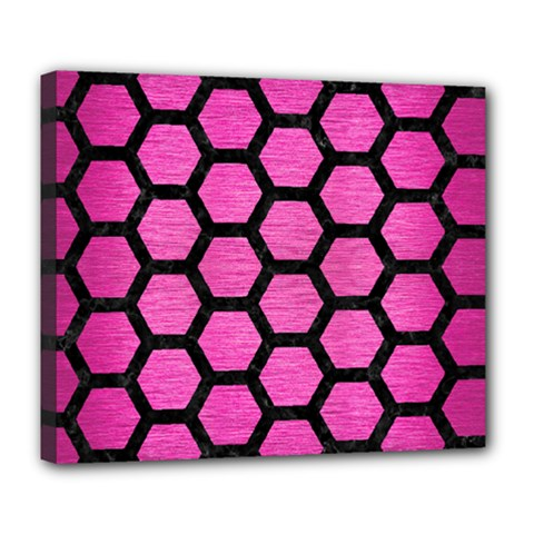 Hexagon2 Black Marble & Pink Brushed Metal Deluxe Canvas 24  X 20   by trendistuff