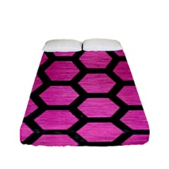 Hexagon2 Black Marble & Pink Brushed Metal Fitted Sheet (full/ Double Size) by trendistuff