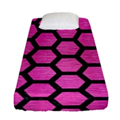 Hexagon2 Black Marble & Pink Brushed Metal Fitted Sheet (single Size) by trendistuff