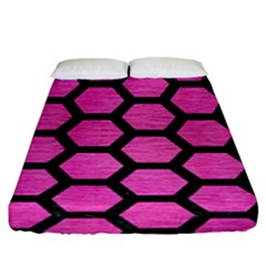 Hexagon2 Black Marble & Pink Brushed Metal Fitted Sheet (king Size) by trendistuff