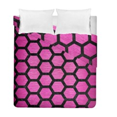 Hexagon2 Black Marble & Pink Brushed Metal Duvet Cover Double Side (full/ Double Size) by trendistuff