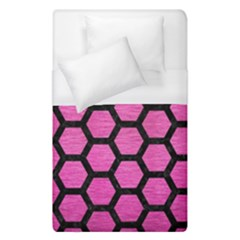 Hexagon2 Black Marble & Pink Brushed Metal Duvet Cover (single Size) by trendistuff
