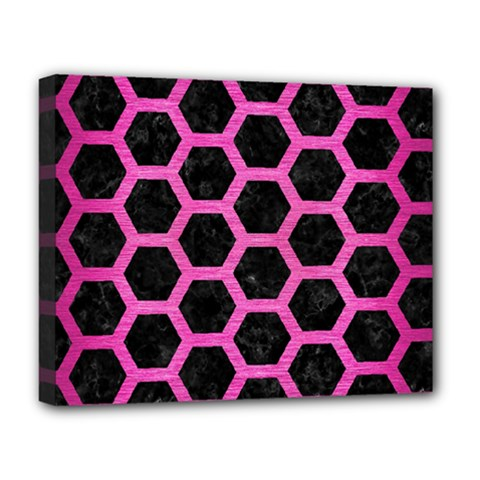 Hexagon2 Black Marble & Pink Brushed Metal (r) Deluxe Canvas 20  X 16   by trendistuff