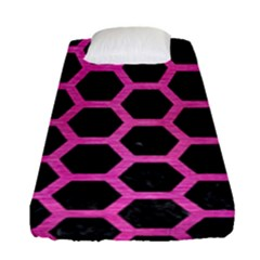 Hexagon2 Black Marble & Pink Brushed Metal (r) Fitted Sheet (single Size) by trendistuff
