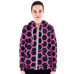 Hexagon2 Black Marble & Pink Brushed Metal (r) Women s Zipper Hoodie by trendistuff