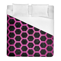 Hexagon2 Black Marble & Pink Brushed Metal (r) Duvet Cover (full/ Double Size) by trendistuff