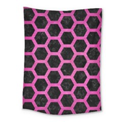 Hexagon2 Black Marble & Pink Brushed Metal (r) Medium Tapestry by trendistuff