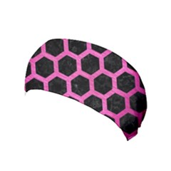 Hexagon2 Black Marble & Pink Brushed Metal (r) Yoga Headband by trendistuff