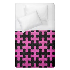 Puzzle1 Black Marble & Pink Brushed Metal Duvet Cover (single Size) by trendistuff
