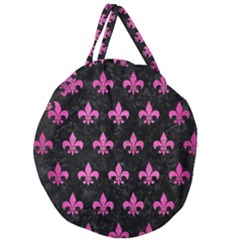 Royal1 Black Marble & Pink Brushed Metal Giant Round Zipper Tote by trendistuff
