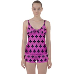 Royal1 Black Marble & Pink Brushed Metal (r) Tie Front Two Piece Tankini