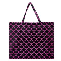 Scales1 Black Marble & Pink Brushed Metal (r) Zipper Large Tote Bag by trendistuff
