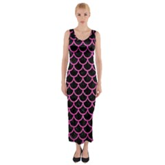 Scales1 Black Marble & Pink Brushed Metal (r) Fitted Maxi Dress by trendistuff