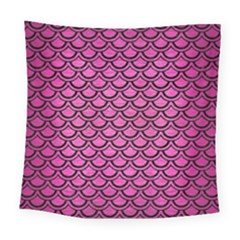 Scales2 Black Marble & Pink Brushed Metal Square Tapestry (large) by trendistuff
